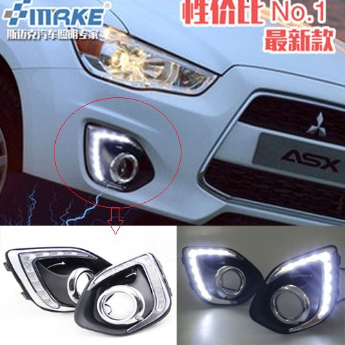 Free shipping !12V 6000k LED DRL Daytime running light for Mitsubishi ASX 2013-2014 Fog lamp frame Fog light Car styling