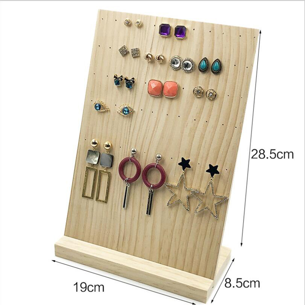 Simple 60 Holes Handmade Wooden Jewelry Holder Solid And Durable Rack For Earrings Jewelry Organizer Stand Jewelry Packaging Display Aliexpress