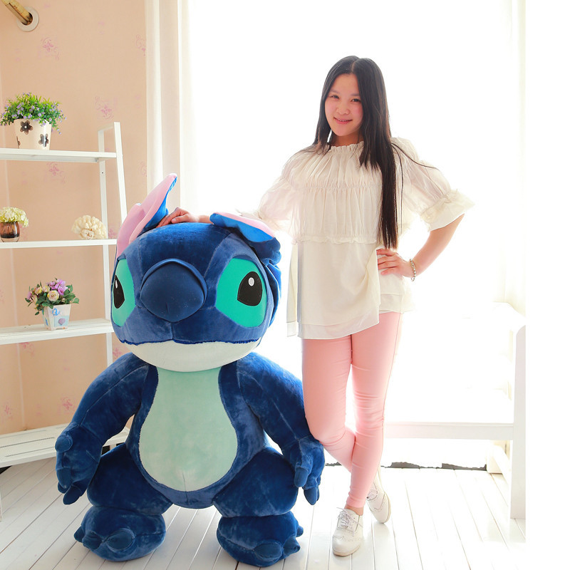 super huge lovely plush dark blue Stitch toy big creative standing stitch doll gift about 150cm 0463 the huge lovely hippo toy plush doll cartoon hippo doll gift toy about 160cm pink