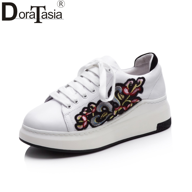 DoraTasia Genuine Leather Brand Embroidery Casual Flats Sneakers Women Shoes Woman Leisure White Fashion SHOES vintage embroidery women flats chinese floral canvas embroidered shoes national old beijing cloth single dance soft flats