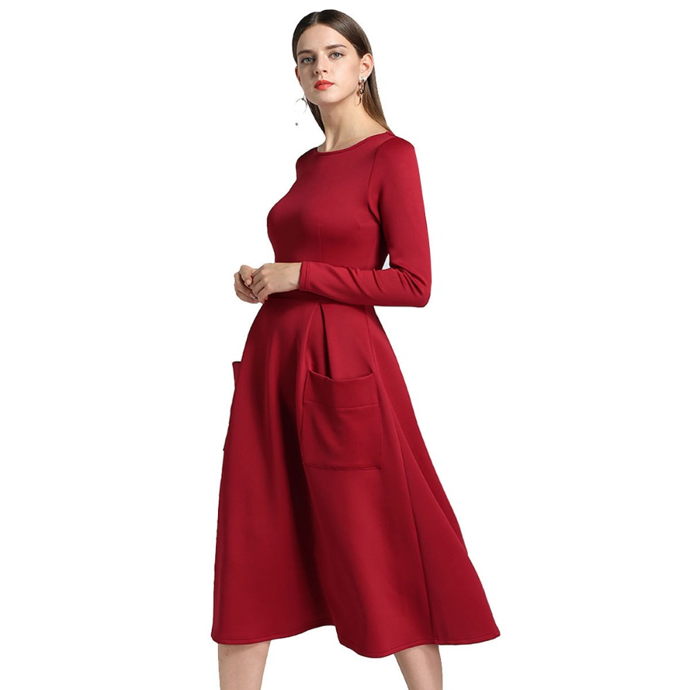 a60f045635 2018 Winter Autumn Women Casual Midi Dresses Skater Dress Female Long  Sleeve Burgundy Sexy Office Pleated Dress