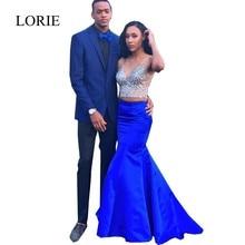 Afrikanische Formal Royal Blue Abendkleider Für Frauen Vestidos Robe De Soiree V-ausschnitt Kristalle 2 Stück Nixe-abschlussball 2017