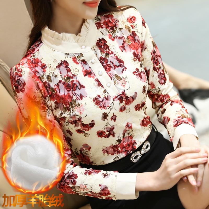 Autumn Winter Women Blouses Lace Stand Casual Long Sleeved Shirts Flower Elegant Slim Velvet Warm Thick Tops Plus Size Blusas