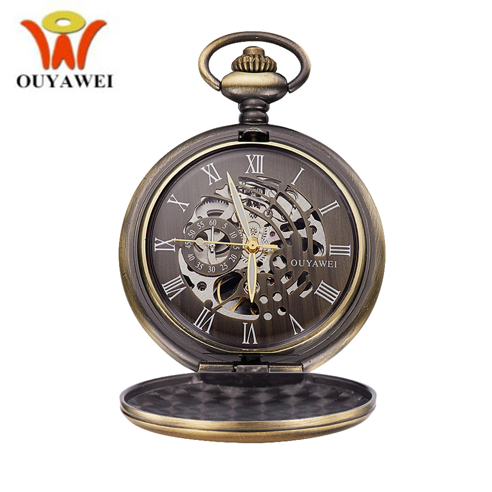 OUYAWEI Bronze Steampunk Hollow Vintage Self-Wind Mechanical Pocket Watches With Chain Retro Male Necklace Pendant Antique Watch antique bronze steampunk pocket watch carving stars