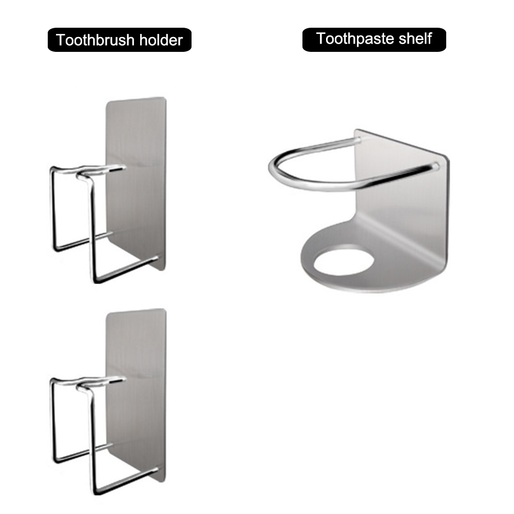 Toothbrush Holder Storage Rack Stainless Steel Wall Hanging Adjustable For Bathroom TN88 image