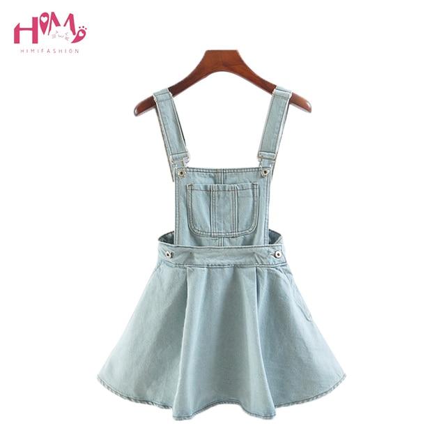 74bc9ebbd7e Summer Women Sleeveless Blue Denim Jumper Dress Pocket Adjustable Jeans Bib  Overall Dress Korean Slim Removable