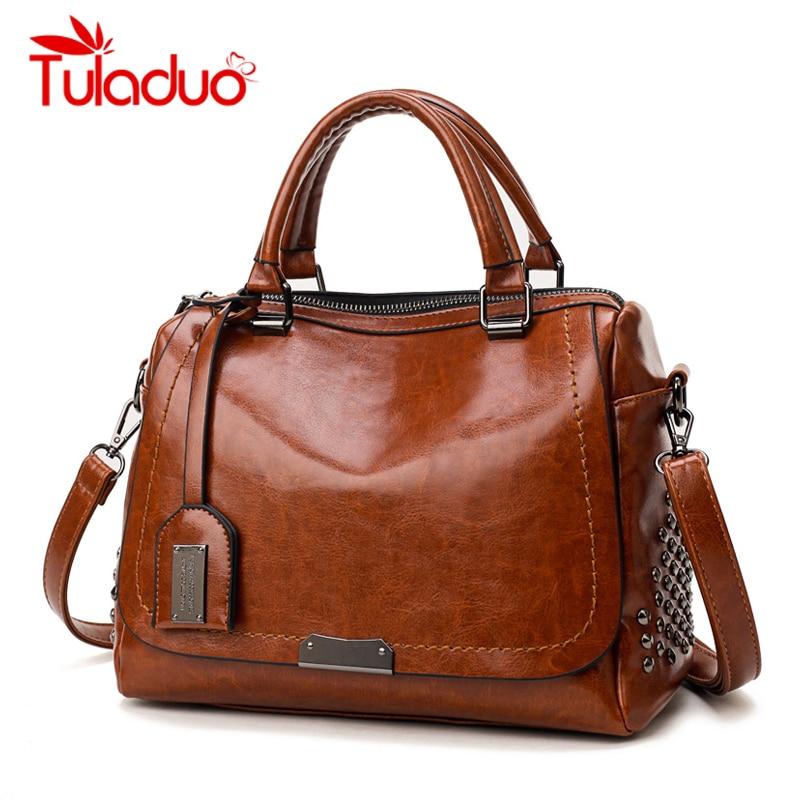 New Fashion Handbags PU Leather Women Rivet Bags Casual Tote Ladies