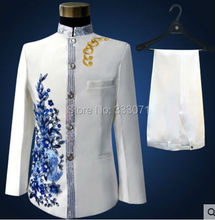 Custom made stand collar Men s Suits Blue applique Groom Tuxedos Performance clothing Wedding Party Prom