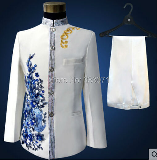 Custom made stand collar font b Men s b font Suits Blue applique Groom Tuxedos Performance