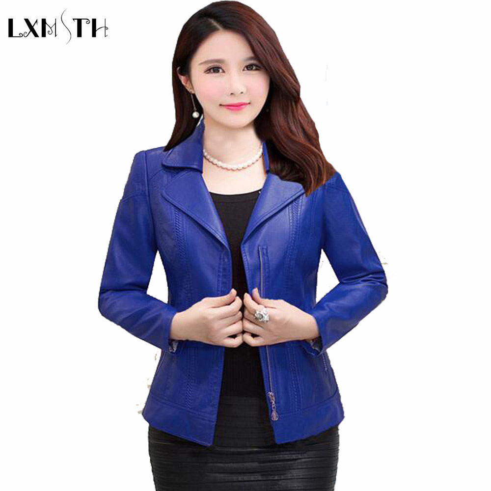 LXMSTH Woman Leather jacket Black 2019 Spring Autumn Mother Casual Leather Coat Plus Size Elegant Slim Zipper jackets Blue Red