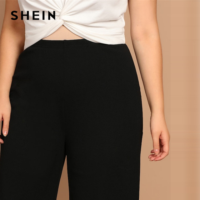 SHEIN Black Plus Size Plain Loose Wide Leg Long Pants Women Office Lady Minimalist 2019 Spring Fashion Solid Trousers 4