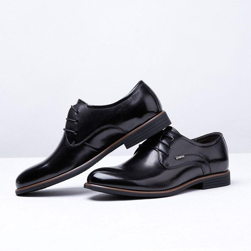 Alta De Os Vestem Sapatos Qualidade Se Homens Genuíno Couro Black Para Oxfords brown 4S6wpq