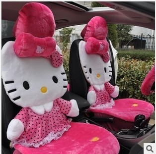 2014 new hello kitty car seat covers pink cute car seat covers set with pillows for lada cars. Black Bedroom Furniture Sets. Home Design Ideas