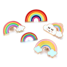 Cartoon Rainbow and Clouds Enamel Pin Brooches Kids Badge Gifts Brooch Pins for Coat Cap Backpack needle