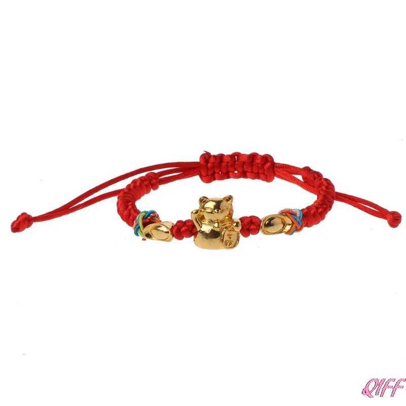 Şanslı kabala kırmızı dize örgülü altın servet kedi bilezikler moda takı