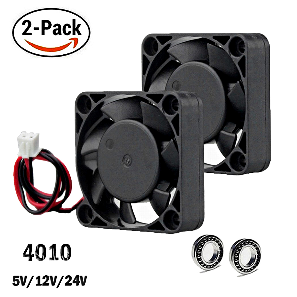 2Pcs Gdstime DC 24V 12V 5V 40mm X 40mm X 10mm 2-Pin Ball Bearing Computer PC Case Cooling Fan 4010