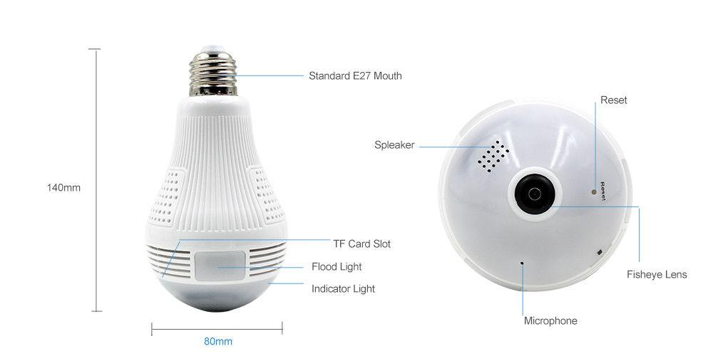 Hot DealsƒLight-Bulb Cam-Recorder Video-Camera Panorama Wifi Surveillance Night-Vision 360-Degree