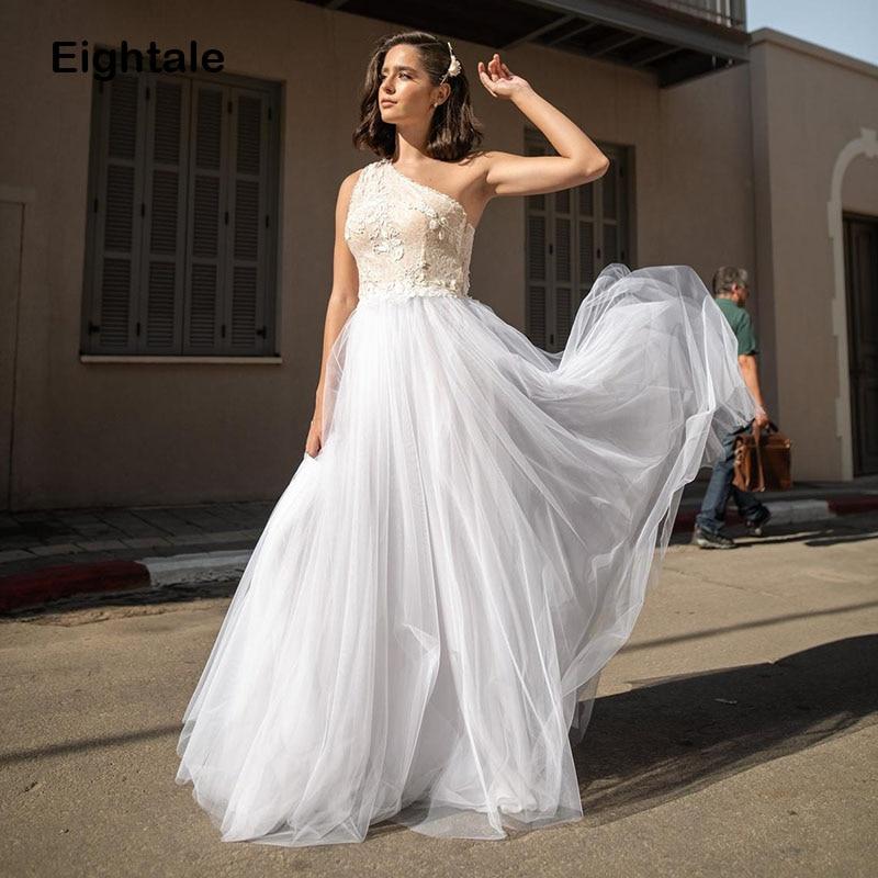 Elegant Beach Wedding Dresses 2020 One Shoulder Appiques Tulle Floor Length Simple Princess Wedding Gowns Custom Made Bridal
