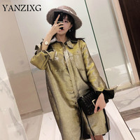 2019 New Summer Thin Clothes Heavy Gold And Silver Wire Drawing Twinkle Goddess Temperament Shirt Loose Coat Woman A194