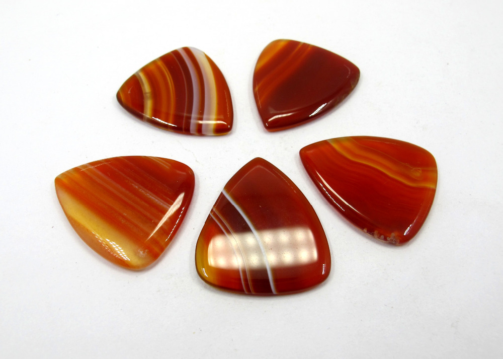 "Genuine Natural Carnelian Agat e Guitar Pick Crystal Stone Guitar Pick, ""Punta redonda"" Calidad Stone Bead Colgante Guitar Pick 1pcs"