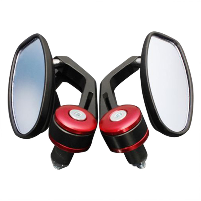 "EDFY Pair 7/8"" Universal Motorbike Motorcycle Handle Bar End Rearview Side Mirrors Red"