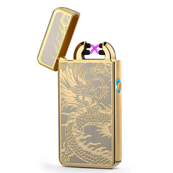 2018 Newest Electronic Usb charging double arc lighter plasma eletronic pulse lighters Chinese dragon shape lighter 6