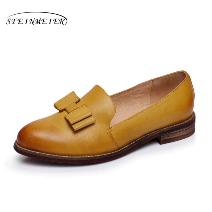 100 Genuine sheepskin leather designer vintage yinzo ladies flats shoes handmade oxford shoes for women yellow