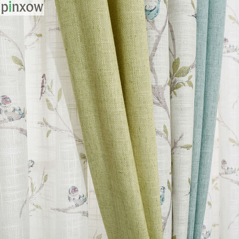 Blue Rustic Window Curtains Linen Custom Made Bedroom Curtain Fabric Green Drapes Living Room Chinese Window Treatment Panel New