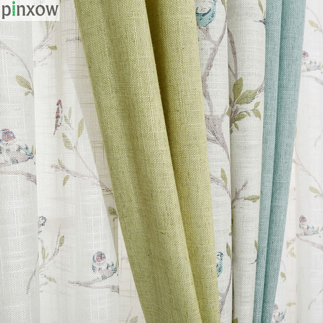 US $20.52 39% OFF|Blue Rustic Window Curtains Linen Custom Made Bedroom  Curtain Fabric Green Drapes Living Room Chinese Window Treatment Panel  New-in ...