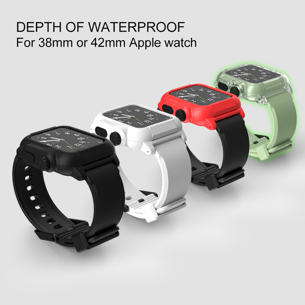 Newest Waterproof Watch Band For Apple Watch Series 1 2 3 Silicone TPU Wrist Strap With Protective Watch Case For Apple Watch