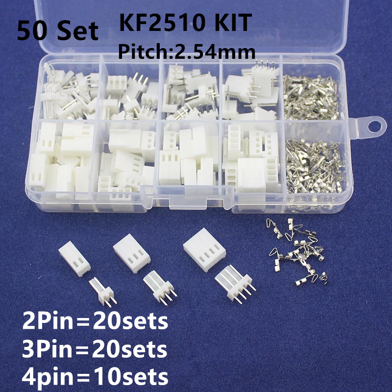 KF2510 Kits 50 Sets Kit In Box 2p 3p 4 Pin 2.54mm Pitch Terminal / Housing / Pin Header Connectors Adaptor