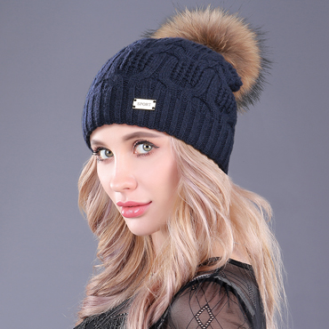 [boapt] Double-deck Knitted Wool Real Natural Raccoon Fur Pompon Hat Female Winter Braid Cap Headgear For Women Skullies Beanies HTB1SvjKcvMTUeJjSZFKq6ygopXau