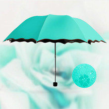 New Sun Umbrella Folding Protection UV Men and Women,Color changing umbrella, Encountering water showing flowers
