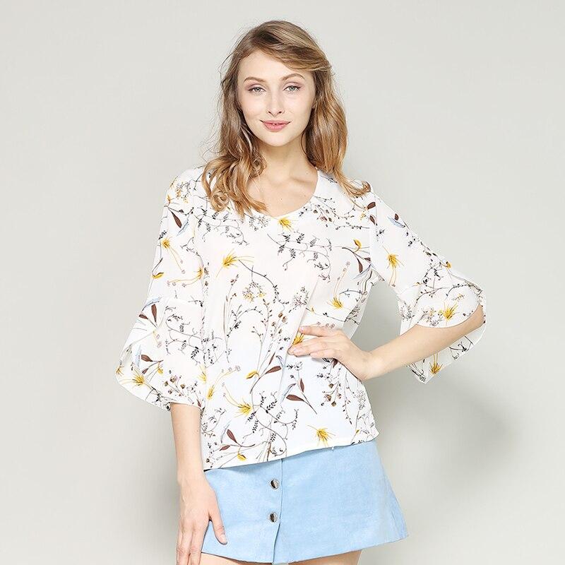 2b67903cc9927 nvyou gou2018 Summer New Floral Print Chiffon Blouse Fashion Women Ruffled  Short Sleeve Shirt Loose Ladies Tops Blusa Feminina