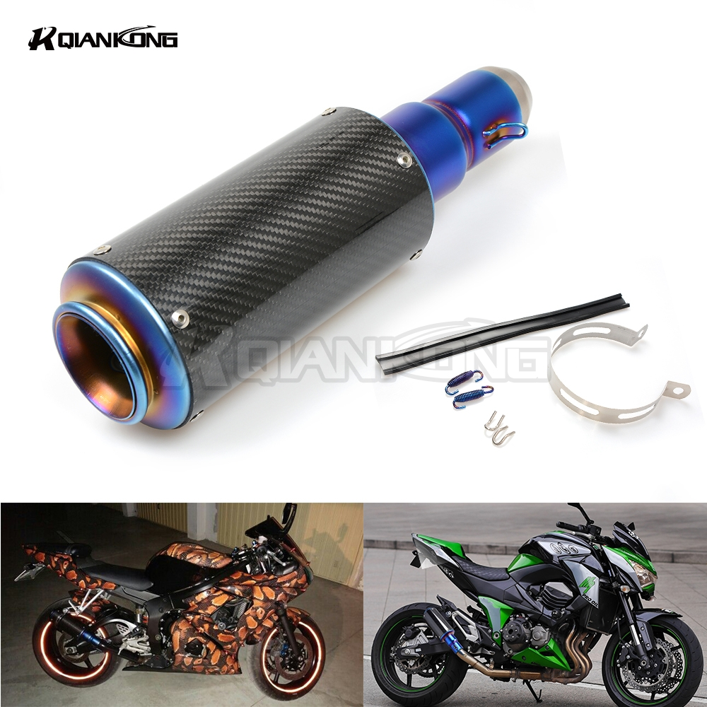 R QIANKONG 36-51MM Carbon fiber Modified Exhaust Pipe Muffler For Kawasaki Z250 Z650 Z750 Z800 Z900 Z1000/sx EX250/300 ZX-6R/10R laser marking sc motorcycle exhaust pipe scooter modified 61mm 51mm moto exhaust muffler pipe for kawasaki er6n er6f z900 z250