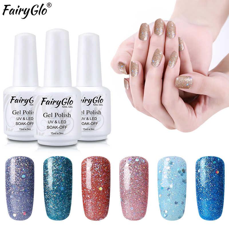 FairyGlo 15ML Dimond Bling Nail Gel UV LED Gel Nail Polish Enamel Paint Gellak Semi Permanent Bling Paint Gel Nail Lacquer  Ink