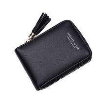Ladies Zipper Business Solid Card Bag Tassel Wallet Rfid Package Women portefeuille femme 2019 Fashion New Arrival