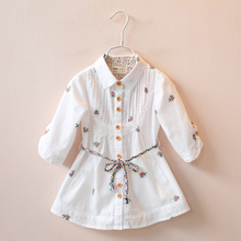 2016 Spring Kids girls Ruffle Shirts dress Baby girl fashion cotton floral blouse baby Vintage floral jumper tops kids clothes