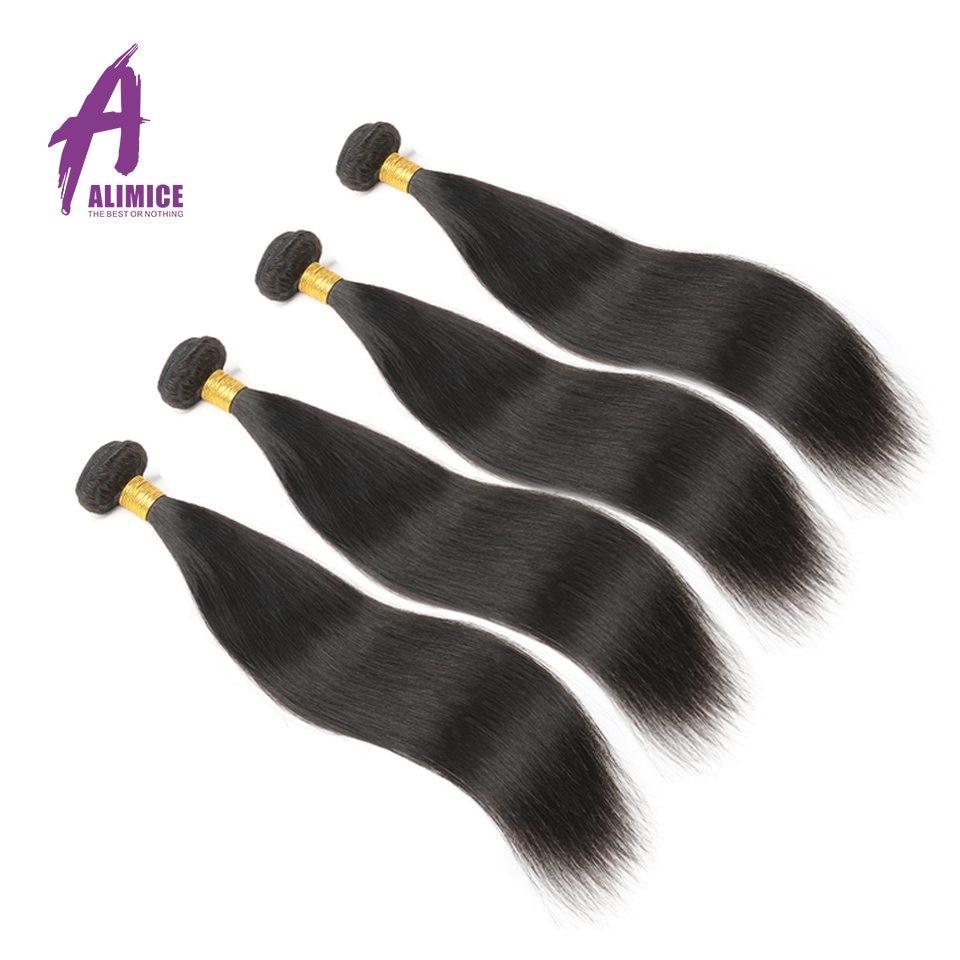 Peruvian Hair Bundles Straight Hair 4 Bundles 100% Human Hair Weave Extensions Natural Color Non Remy Hair Weaving