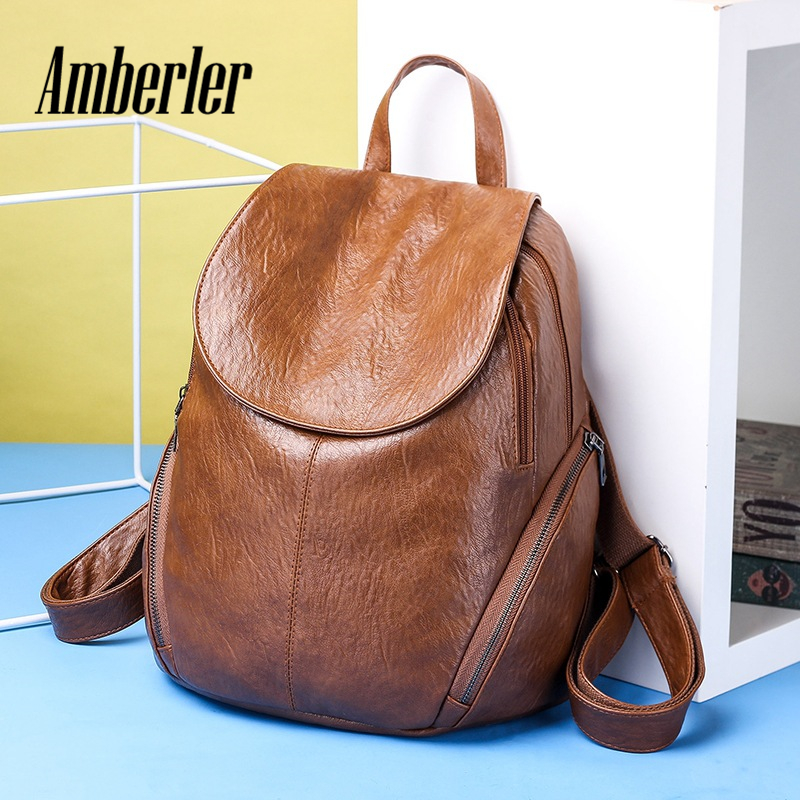 Amberler PU Leather Women Backpack Teenage Shoulder Backpacks For Girls School Bag High Quality Simple Ladies Laptop Bag Female