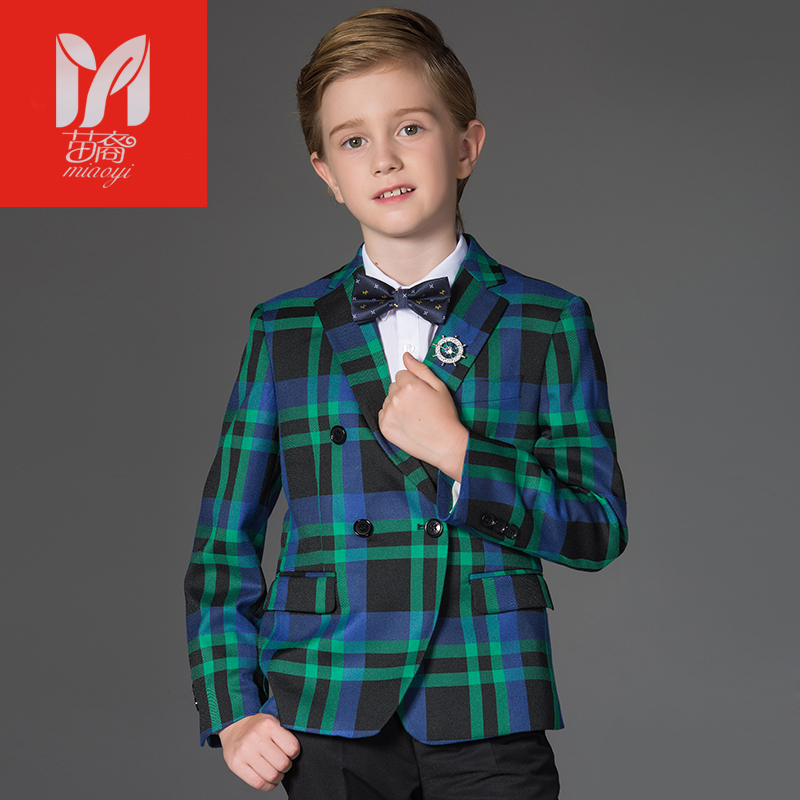 MIAOYIWoolen lattice 2017 clothing sets kids baby boy suits Blazers gentleman clothes for weddings formal clothing Costumes