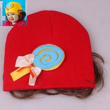 2015 Hot Sale New Hat Fashion Cute Wig Candy Children Baby Kids Cotton Cap Retail