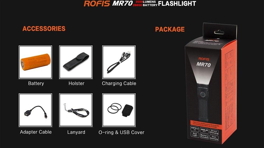 Rofis MR70 CREE XP G2 нейтральный белый 3500 люмен микро usb перезаряжаемый светодиодный фонарик - 6