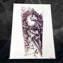 Clock Grave Cross Arm Sleeve Tattoo Body Art Flash Temporary Tattoo Sticker 21x11cm Waterproof Fake Tatoo Sleeve Leg Tatto Charm