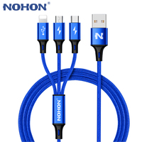 NOHON 3 IN 1 Type C 8Pin Micro USB Cable For iPhone 8 X 7 6 6S Plus iOS 10 9 8 Samsung Nokia USB Fast Charging Cables Cord usb fast nokia usb usb cable for iphone -