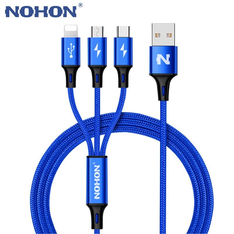 NOHON 3 en 1 Type C 8Pin Micro câble USB pour iPhone 8X7 6 6 S Plus iOS 10 9 8 Samsung Nokia USB câbles de charge rapide cordon