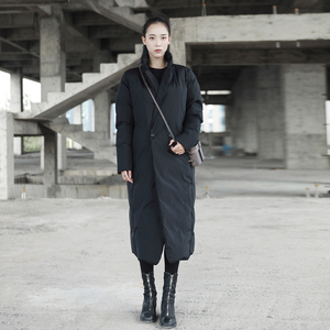 Image 2 - [EAM]2020 New Spring Stand Collar Long Sleeve Solid Color Black Vent Cotton padded Big Size Coat Women Fashion Tide JD16