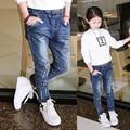 spring female child jeans children trousers Star pattern girls slim jeans