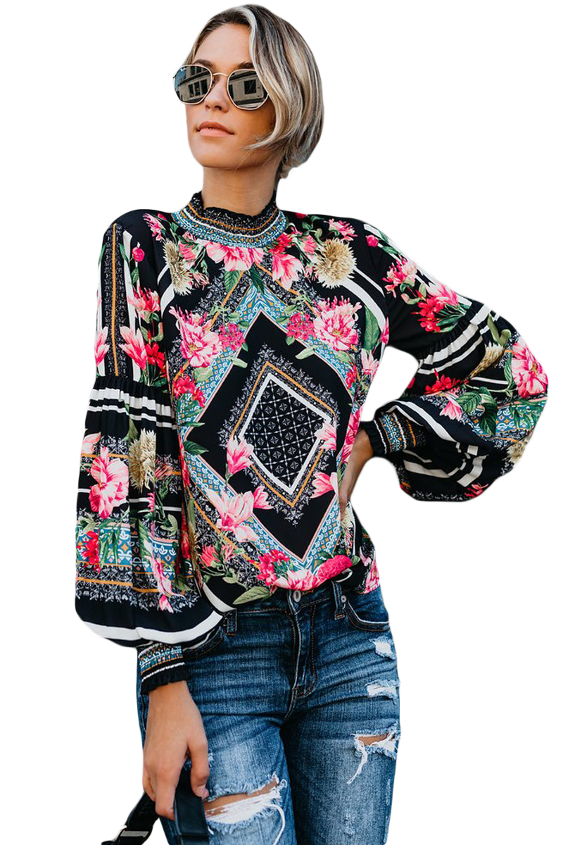 Black-Bohemian-Floral-Print-Smocked-Long-Sleeve-Blouse-LC251632-2-1
