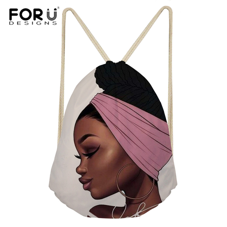 FORUDESIGNS Black Art African Girl Printing Drawstring Bags Women Ethnic Style Beach Shoulder Bag Ladies Drawstring Bagpack 2019